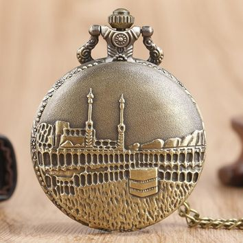 Retro Full Hunter Bronze Casual Necklace Quartz Men Pocket Watch Castle Pendant Copper Fans Gift Boy Male Clock
