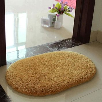 Hot Sale Shaggy Bathroom Rug Candy Color Plush Velvet Slip Mats Doormat Absorbent Washable Bath Mats Floor Bathroom Carpet W1