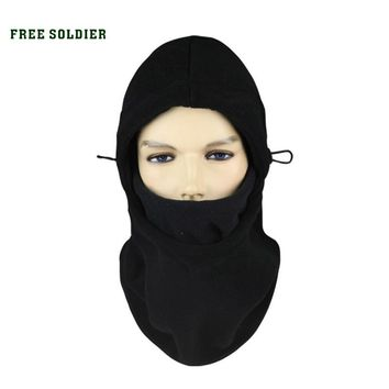 FREE SOLDIER Outdoor double layer fleece hat thermal pocket ride hat fleece scarf thickening cap wigs