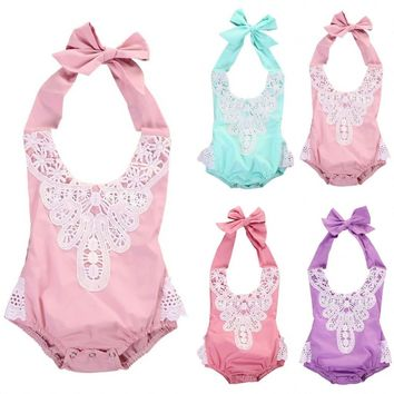 Hot Newborn Toddler Baby Girls Cute Floral Lace Jumpsuit Romper Sunsuit Outfit Clothes