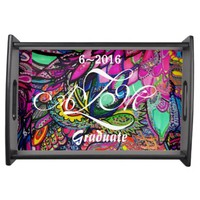 Serving Tray Colorful Zen Tangle Design
