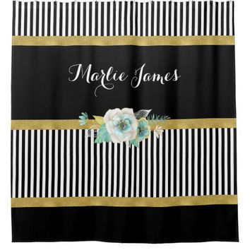 Chic Gold Mint Flowers With Black Stripes and Name Shower Curtain