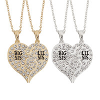 2 PC Set Big Sis Lil Sis Full Crystal Pendants & Necklaces Big Little Sister Broken Heart Rhinestone Drop Necklace Sister Gifts