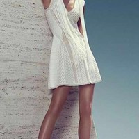Sexy Fashion Dress for Women Clothing Off White Piontelle Crochet Fringe A-line Bandage Dress Rayon
