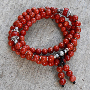 Grounding, 108 Bead Mala Red Jasper Wrap Bracelet Or Necklace