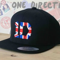 1D Snap Back Hat.  British Flag One direction Snapback cap. One Direction Snapback Hat.  Harry Styles, Naill, Snap Back