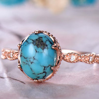 7x9mm Oval Cut Turquoise Engagement Ring 14k Rose Gold band Anniversary ring,Promise ring,Half Eternity,Claw Prongs,Pave Set Milgrain