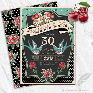 Rockabilly Birthday Party Invitations