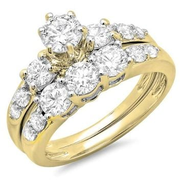 CERTIFIED 1.80 Carat 14K Yellow Gold Round Diamond 3 Stone Bridal Engagement Ring Set