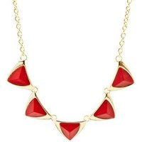 Faceted Stone Triangle Collar Necklace by Charlotte Russe - Red