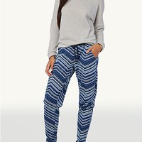 Navy/Sky Blue Tribal Chevron Terry Jogger