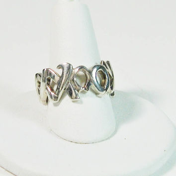 Tiffany Silver Ring Paloma Picasso Sterling Hugs Kisses Authentic 'XO' Design Engagement Wedding