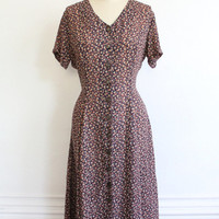 Vintage 90s Fall Floral Print Sheer Maxi Dress // Long Romantic Button Up Dress