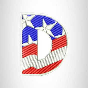 D Alphabet Letters of US Flag Iron on Small Patch for Biker Vest.