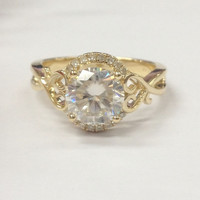 Round Moissanite Engagement Ring Pave Diamond Wedding 14K Yellow Gold 6.5mm Floral Promise