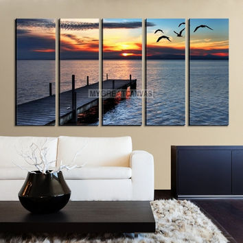 LargeLarge Wall Art Canvas Wooden Pier at Sunset with Birds