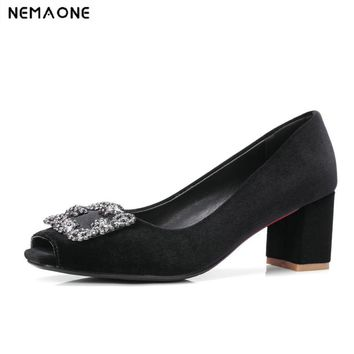 New Women's square heels shoes 2017 New High Quality Classic peep toe women Pumps Shoes for Office Ladies Shoes
