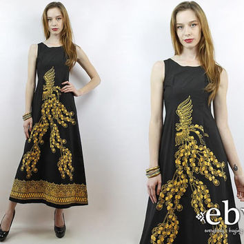 Vintage 70s Black Phoenix Maxi Dress XS S Phoenix Dress Hippie Dress Hippy Dress Cocktail Dress Party Dress Black Maxi Dress Black Dress