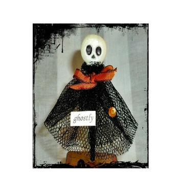 Folk Art Doll, Ghostly, Mixed Media Doll, Halloween Art Doll, Vintage Inspired, One of a Kind