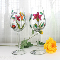 Wine Glasses, Toasting Glasses, Wedding Glasses, Anniversary glasses, Embroidery Inspired Design, Hand Painted, Set of 2