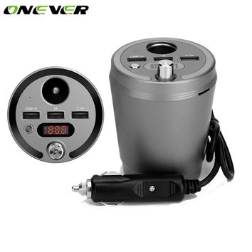 Onever Car Styling Cup Shape FM Transmitter Modulator Bluetooth Car Kit MP3 Player with Cigarette Lighter Socket & 3 USB Charger