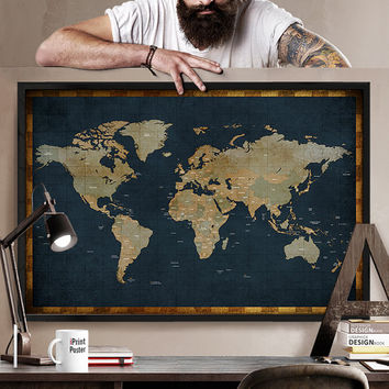 World map classic huge large wall map 24x36 poster home office contemporary premier large world wall map poster at x new world map poster 24x36 gumiabroncs Images