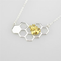 Unique Design Jewelry S925 Sterling Silver Bee On The Honeycomb Necklace For Women Free Shipping