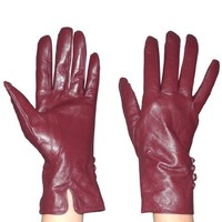 Womens Warm & Weatherproof Insulated Winter Leather Gloves with Interior Lining - Wine Red (Size: M
