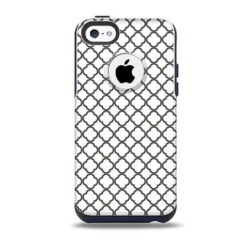 The Dark Gray & White Seamless Morocan Pattern Skin for the iPhone 5c OtterBox Commuter Case