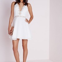 CHIFFON CROCHET TRIM SKATER DRESS WHITE