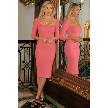 Coral Pink Stretchy 3/4 Sleeve Fall Bodycon Party Midi Dress - Women