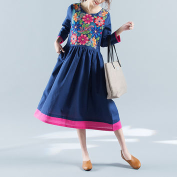 New 2017 Summer Vintage Dress Casual Plus Size Women Cotton Linen Embroidered V-collar Loose Vestidos Robe Dresses Y231