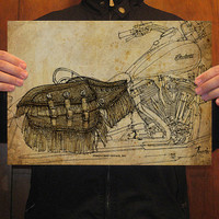 Black Friday Etsy - Original Handmade Drawing Print, INDIAN Chief Vintage ,11.5x16 in (29x41 cm), a great Chritsmas gift