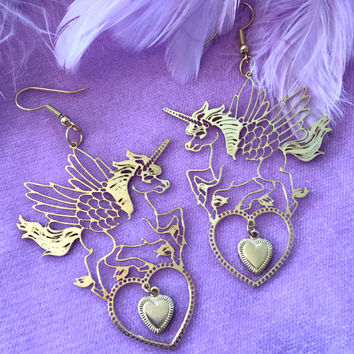 Unicorn Pegasus Gold Earrings