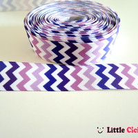 "1/ 3 Yards Purple Chevron on White Grosgrain Ribbon - 7/8"" ribbon by the yard - Chevron Ribbon - Pattern Ribbon"
