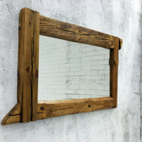 bathroom mirror,  reclaimed wood mirror, rustic mirror,  wall mirror, wooden mirror, old wood mirror, rustic decor, mirror