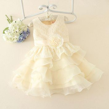 Flower Girl Dresses for Weddings Baby Girls Summer Holiday Dresses Birthday Maternity Dress Cotton Princess Party Dress 3-10Year