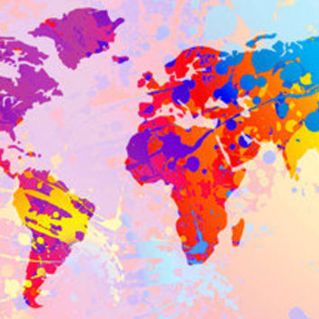 Giant Colorful World Fine Art Poster - gift ideas, kids, teen, tween, map