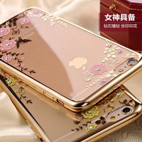 Cover Flower Diamond Pure Lace Mirror Soft Silicon Gel For iPhone 5 5S SE 6 6S 7 Plus For Samsung Galaxy S5 S6 S7 Edge Case