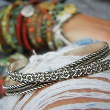 Handmade Sterling Silver Cuff Bracelet Set of Two by HappyGoLicky