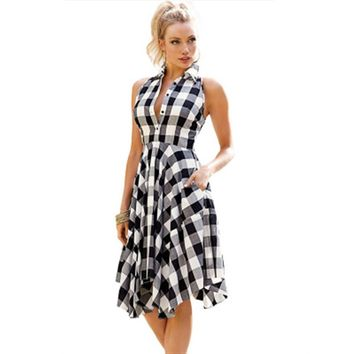 Sleeveless Plaid High Waist Pleated Dress