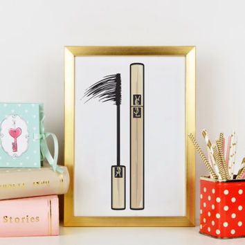 Yves Saint Laurent mascara Bathroom Decor,Gift For Girlfriend,Girl Room Decor Wake up and Makeup Fashion Print,Makeup Wall Art