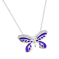 Sterling Silver Purple Enamel Butterfly  Inlay Necklace
