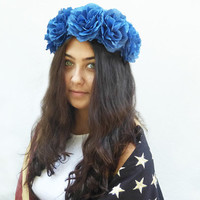 Royal Blue Rose Crown, Cobalt Blue Rose Headband, Blue Flower Crown, Woman's Hair Accessory, Floral Crown, Blue Rose, Lollapalooza