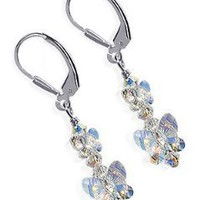 SCER121 Sterling Silver Bewitch Butterfly Crystal Earrings Made with Swarovski Elements
