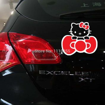 Aliauto Butterfly Knot Hello Kitty Car Sticker And Decal Accessories for Toyota Ford Chevrolet Volkswagen Honda Hyundai Kia Lada