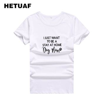 HETUAF 2018 Dog Mom Footprint Graphic Tees Women Printed Funny Ulzzang Streetwear Womens T Shirt Tops Tumblr Women T-shirt Femme