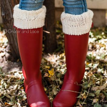 Grace & Lace Cozy Cable Knit Leg Warmers in Cream