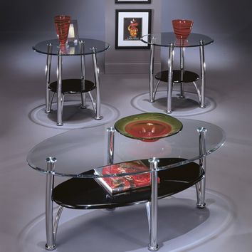 3 pc dempsey collection chrome metal finish and tempered glass top coffee and end table set