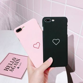 Fashion Sweet Love Heart Frosted Hard Back Cover Cute Protection Phone Case for iPhone 5 5S SE 6 6S 6Plus 6S Plus 7 7Plus 8 8Plu